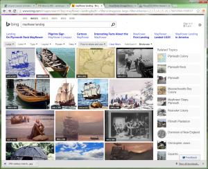 Bing search screen capture