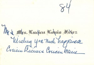 Mrs Lucien Louis Friez card