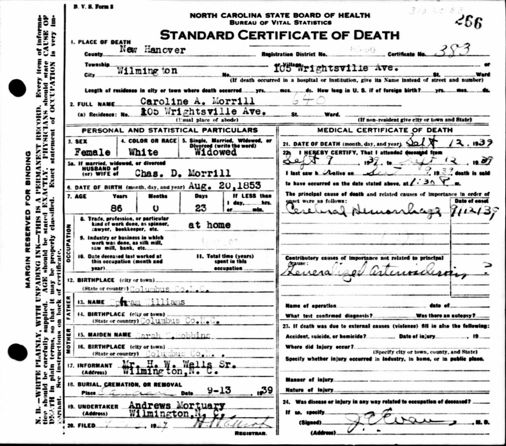 Solving a puzzle using family letters vita brevis caroline morrills death certificate 1betcityfo Images