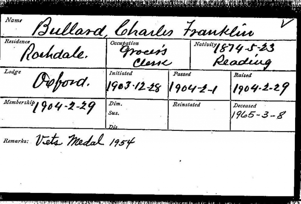 Massachusetts- Grand Lodge of Masons Membership Cards 1733-1990