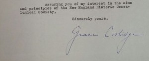 Membership application of Grace Goodhue Coolidge (1879-1957), Membership-Letters, 1934, Special Collections, NEHGS.