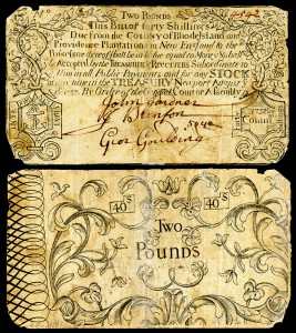 £2 Colonial currency from the Colony of Rhode Island. National Numismatic Collection at the Smithsonian Institution.