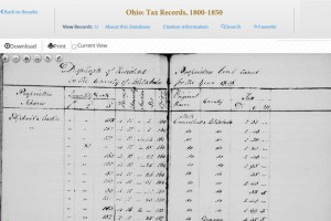 From the Ohio Tax Records database* supplied to NEHGS by FamilySearch.org