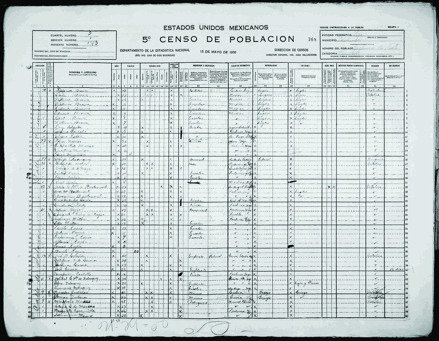 Researching mexican records for my grandfather vita brevis my family in the 1930 mexico census aiddatafo Image collections