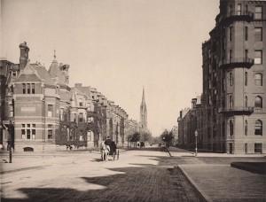 View of Newbury Street from Dartmouth Street.