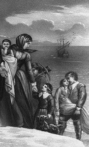 Detail of The Landing of the Pilgrims at Plymouth, Mass. Dec. 22nd 1620, lithograph by Currier & Ives. Library of Congress Prints and Photographs Division.