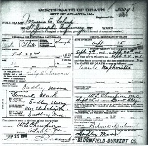 Death certificate for Morris E. Clark. City of Atlanta, Death Certificate #3009, from Fulton County Bureau of Vital Statistics.