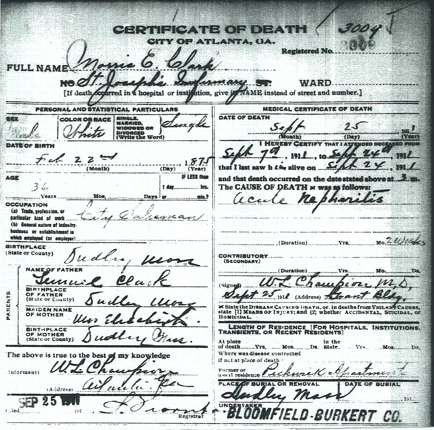 Finding uncle morris vita brevis death certificate for morris e clark city of atlanta death certificate 3009 aiddatafo Image collections