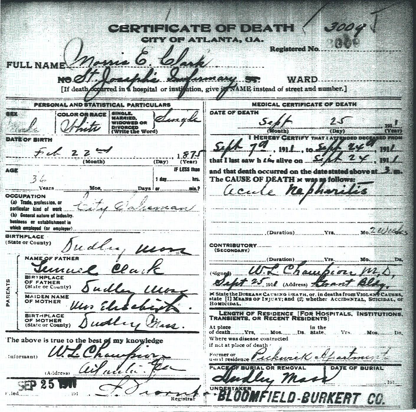 Finding uncle morris vita brevis death certificate for morris e clark city of atlanta death certificate 3009 aiddatafo Gallery