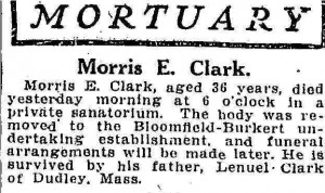 Mortuary notice for Morris E. Clark. Atlanta Constitution, 26 Sept. 1911.