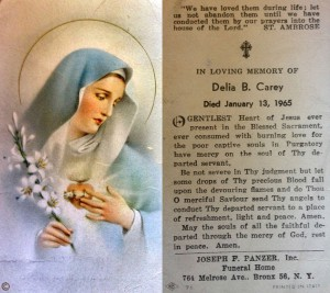Both sides of the prayer card for Delia B. Carey, 13 January 1965.