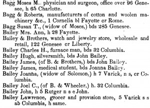 A page from the 1850-51 edition of the Utica City Directory.
