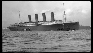 Lusitania under way