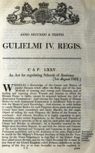 William IV Act for Regulating Schools of Anatomy