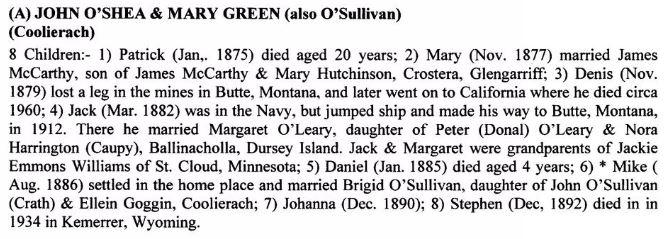 John O'Shea Mary Green
