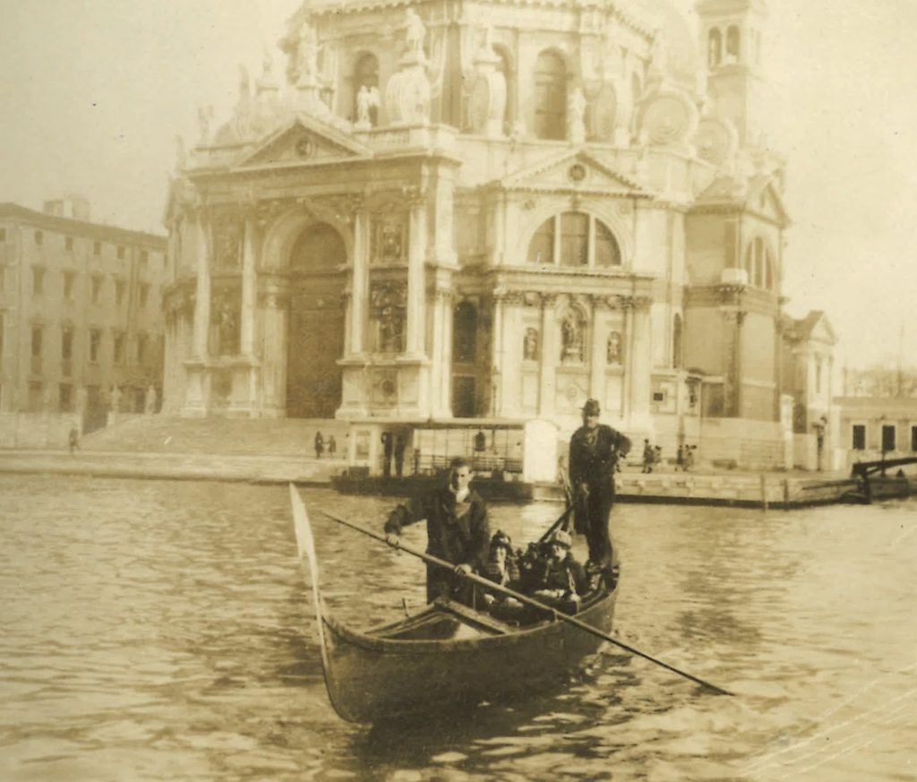Mama and Edith in their gondola in Venice in 1924 with Giovanni at the helm for VB